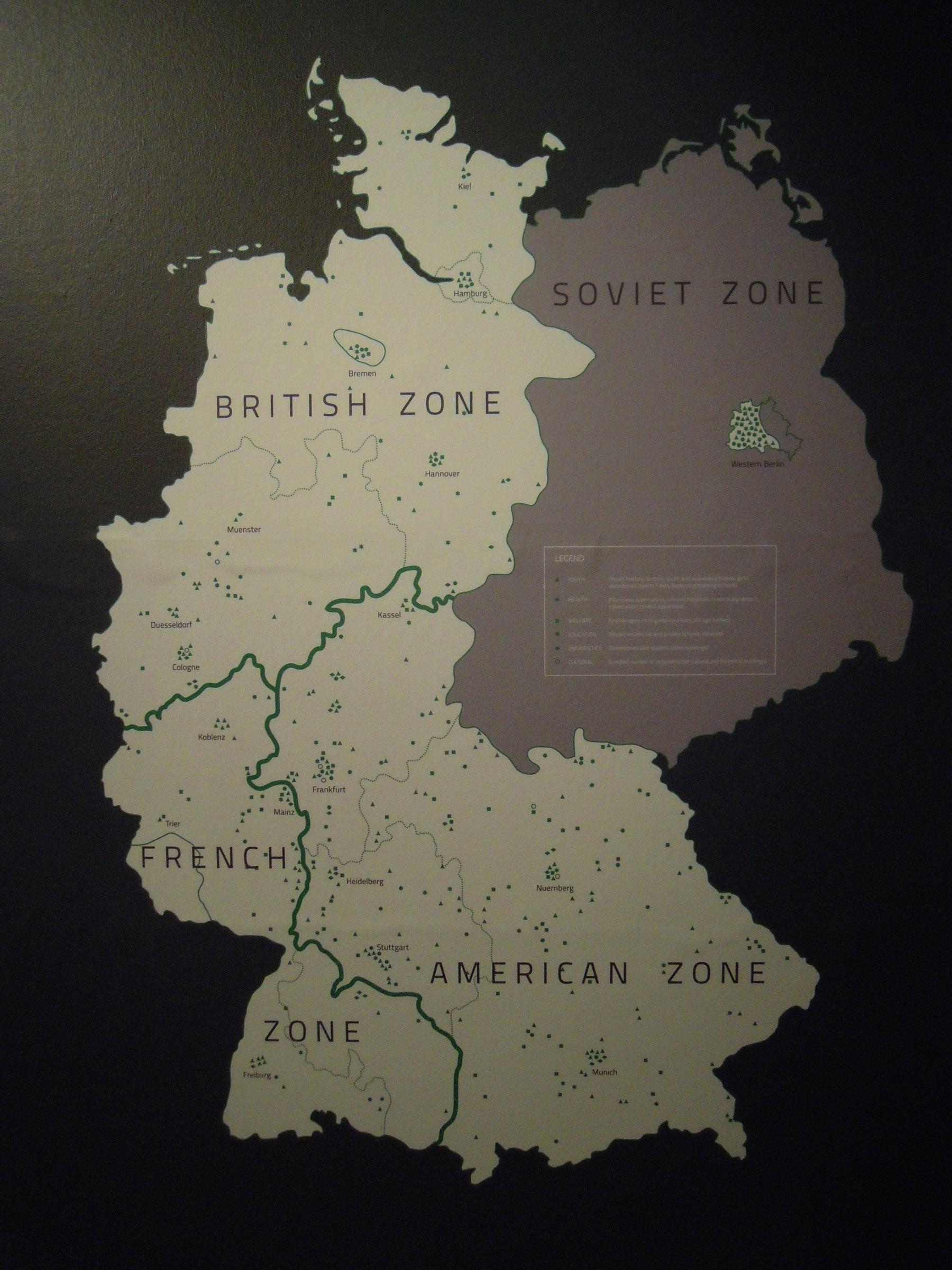 Berlijn verdeeld in 4 sectoren na WO2