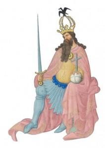 Karel de Grote, miniatuur uit getijdenboek hertog van Berry gebroerders van Limburg