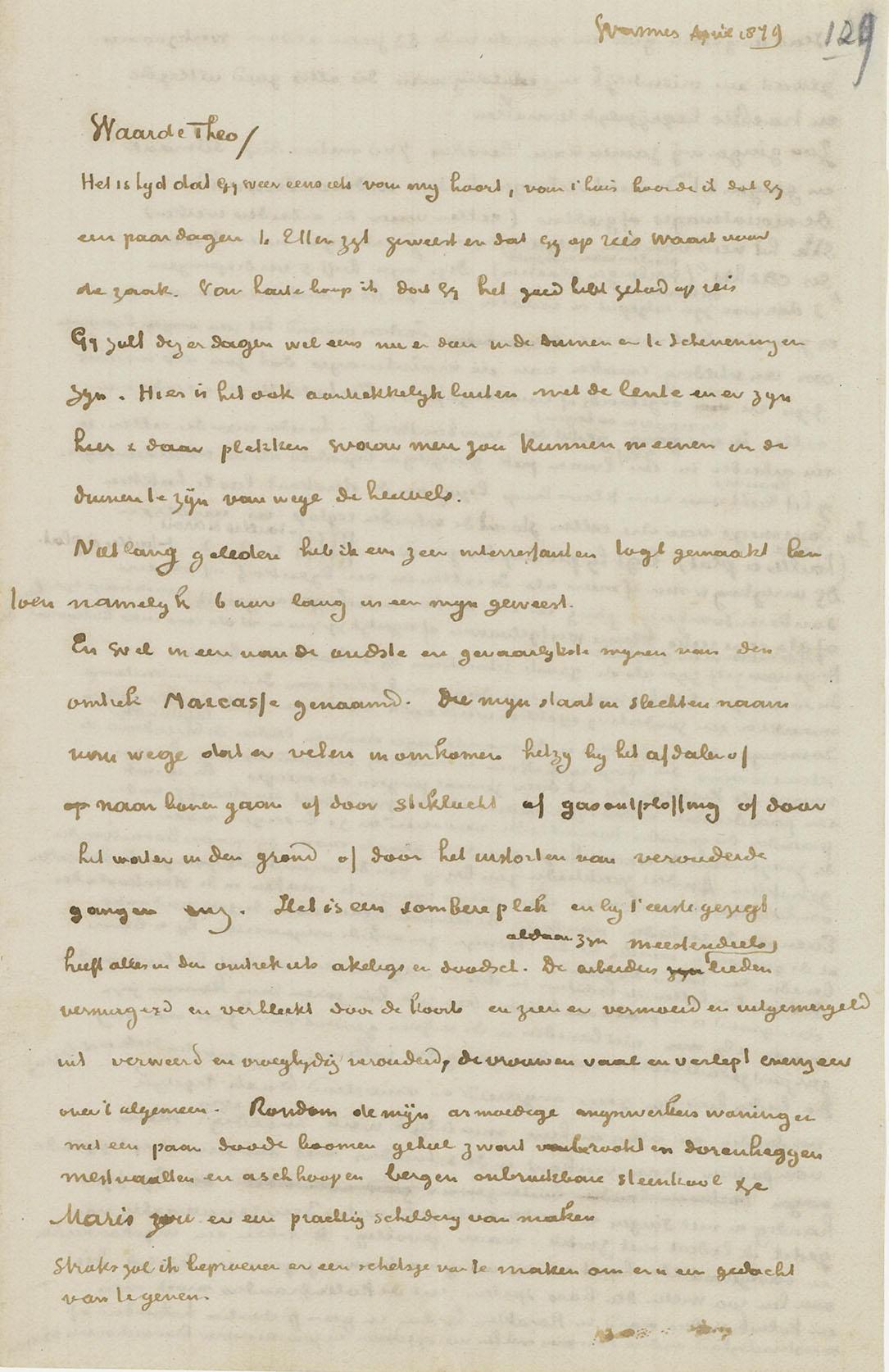 Brief van Van Gogh een Theo 1879 vanuit Wasmes coll van gogh museum AMS