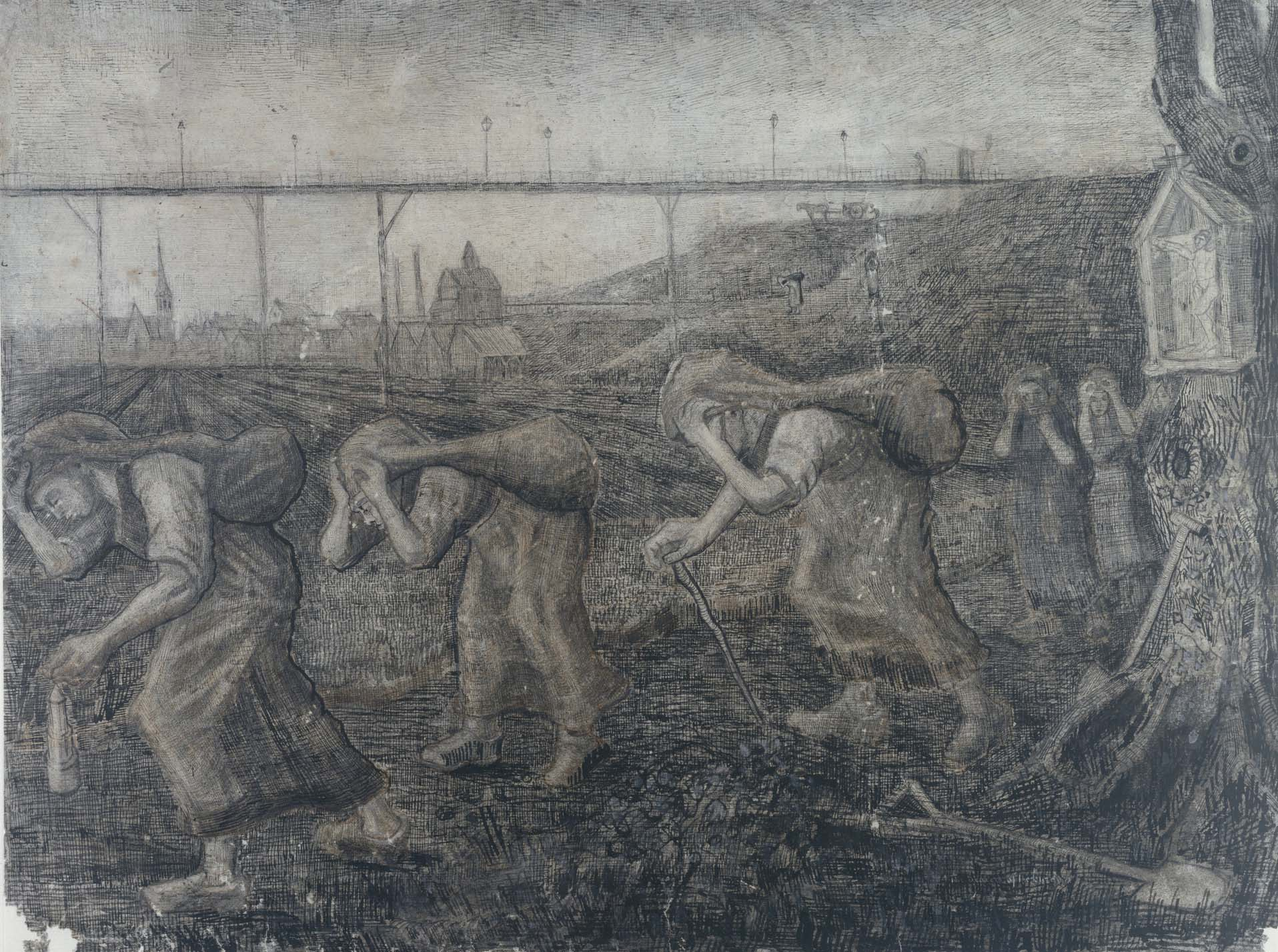 Mijnwerkersvrouwen zakkend dragend -Van Gogh_ coll. Kroller Muller