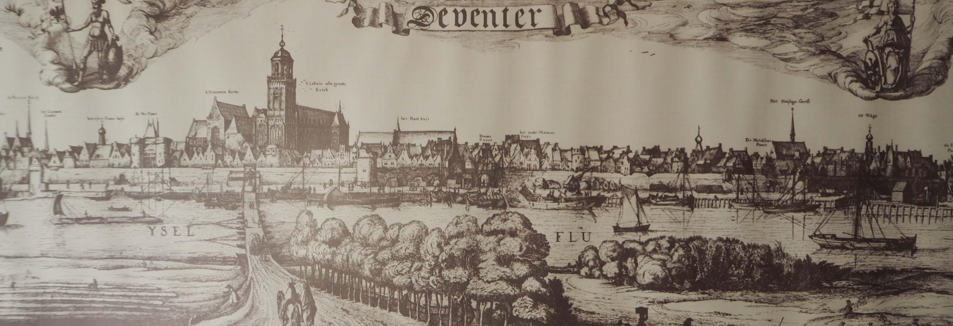 Houtdruk Zicht op Hanzestad Deventer