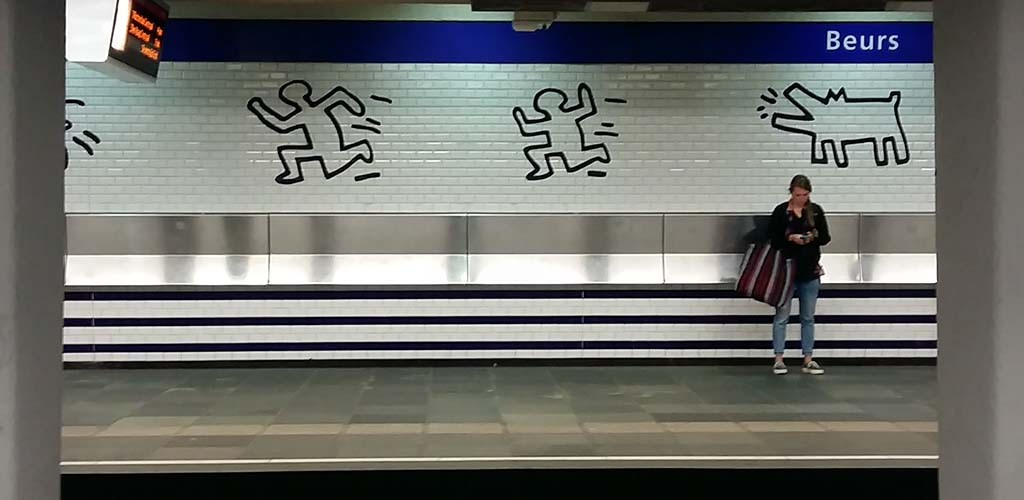 Kunstenaar en activist Keith Haring in metro Rotterdam De Kunsthal the political Line © Wilma Lankhorst