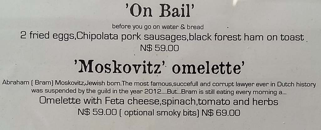 Lunch at Old Continental in Windhoek try an omlette Moskowitz