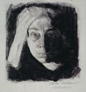 Kathe Kollwitz 1910 zelfportret coll. Käthe Kollwitz Museum Keulen