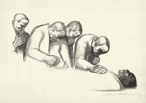 Kathe Kollwitz serie afscheid van Karl Liebknecht - krijt lithografie - 005_Kn-146