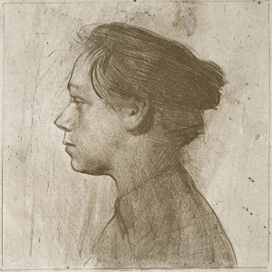 Kathe Kollwitz_1899_zelfportret - Profeil naar links- krijt en potlood lithografie