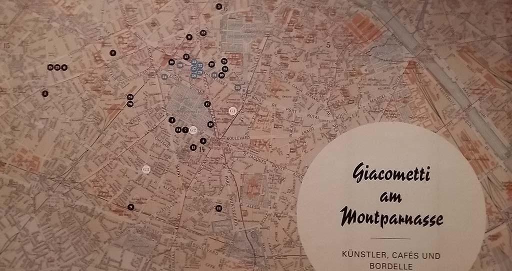 Alberto  Giacometti kaart Montparnasse Parijs op tentoonstelling in Münster
