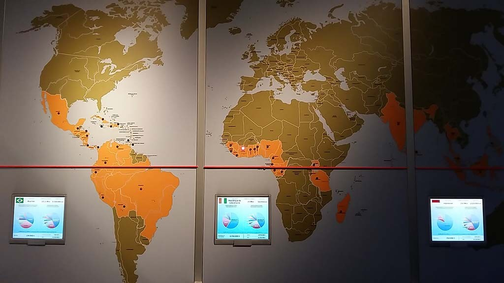 wereldkaart met overzicht cacaoproductie Chocolademusuem Keulen
