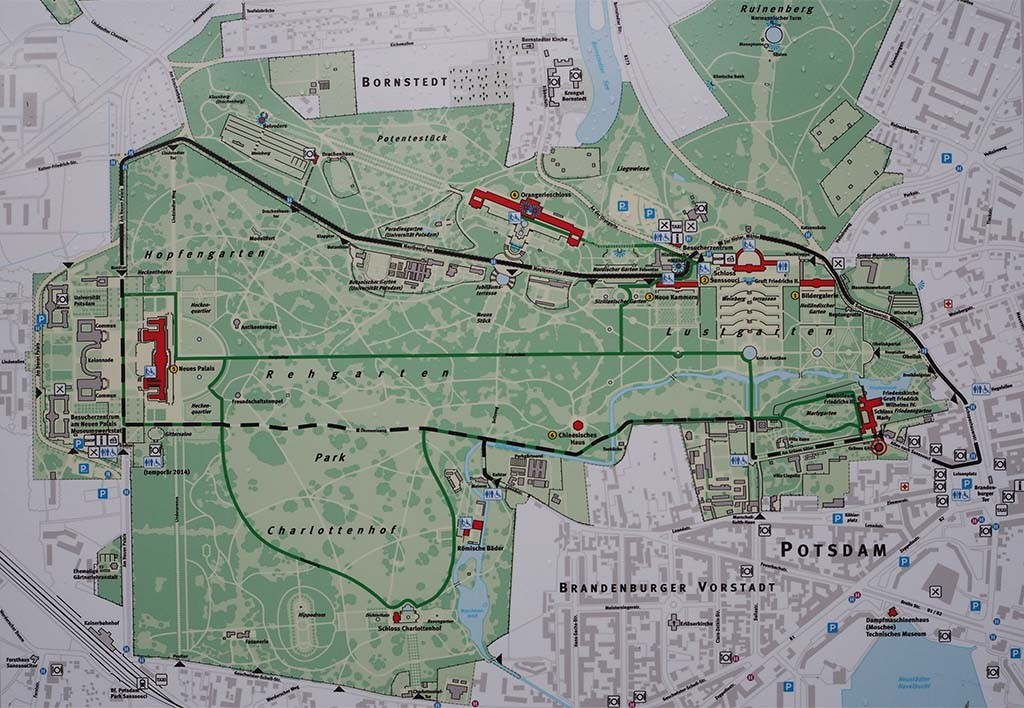 Plattegrond park Sanssouci in Potsdam op de Oranjeroute