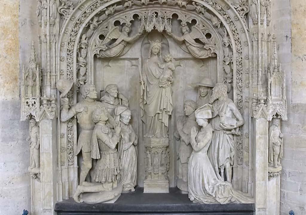 Grote kerk Breda aanbidding van Maria met links Engelbert I en Johanna van Polanen