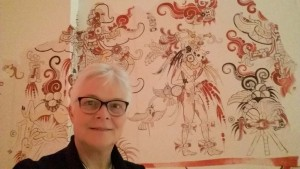 Maya's heersers van het regenwoud Detail muurschildering San Bartolo foto Wilma Lankhorst