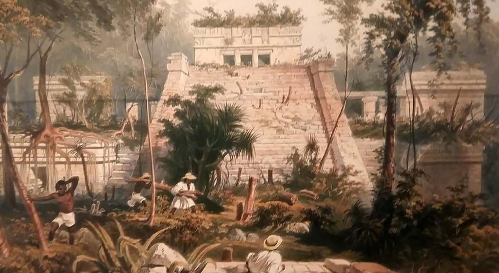 Maya's mensen van maïs, Voorbeeld tekening van Catherwood foto Wilma Lankhorst