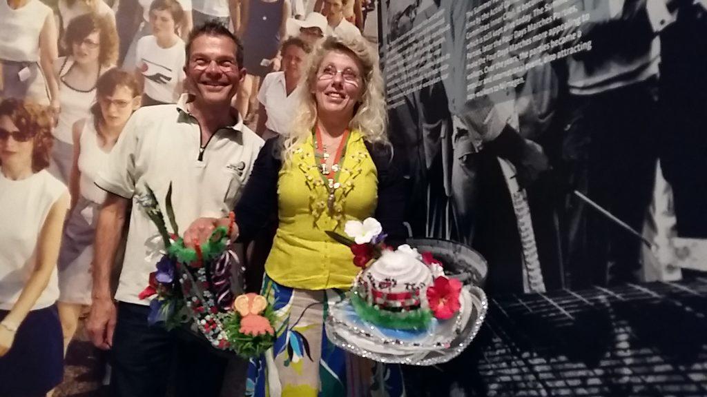 100ste vierdaagse B&B gastheer Martin Geurts en loopster Mieke Lokhorst foto Wilma Lankhorst