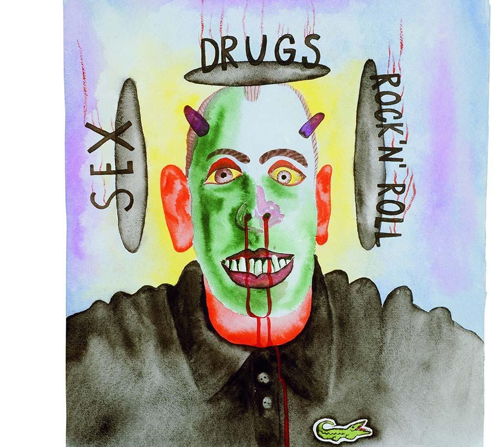 Campagnebeeld Nieuwe Wilden Dokoupil_zonder titel_Sex_Drugs_RocknRoll_1984 -Groninger Museum