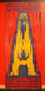 Agnes C. Canta: grafisch ontwerper, schilder in zaal Wendingen affiche voor Vereeniging opbouw Eeretetoonstelling 1930 Rotterdamse Kunstkring