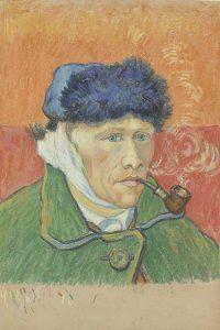 Emile Schuffenecker, Man met pijp (naar Van Goghs Zelfportret), ca. 1892-1900, krijt op papier coll Van Gogh Museum, Amsterdam (Vincent van Gogh Stichting) LR