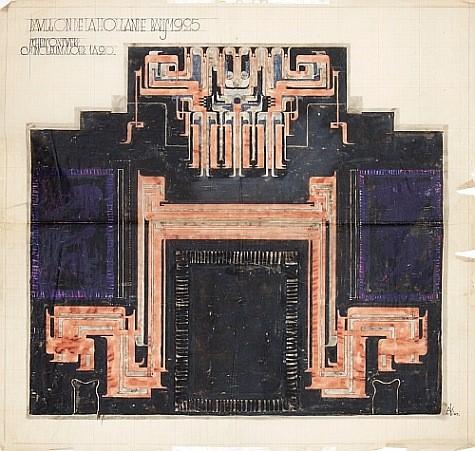 Anton Kurvers - ontwerp voor linoleumvloer NL paviljoen Parijs 1925 coll Arnoud Carp foto Ernst van Deursen
