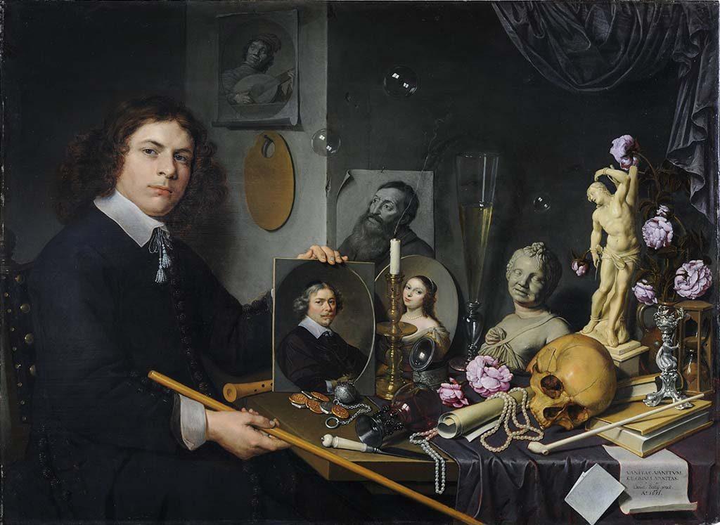 Vanitas-stilleven-met-zelfportret-van-de-schilder-David-Baily-collectie-de-Lakenhal-Leiden