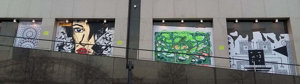Street-Art-Nijmegen-project-bij-Casino-op-Waalkade-2016-div.-voorbeelde-street-art-o.a.-Fred-de-Imker-_Enigma Geometricks-YannickS-Serge Kb-Nnamari-foto-wilma-Lankhorst