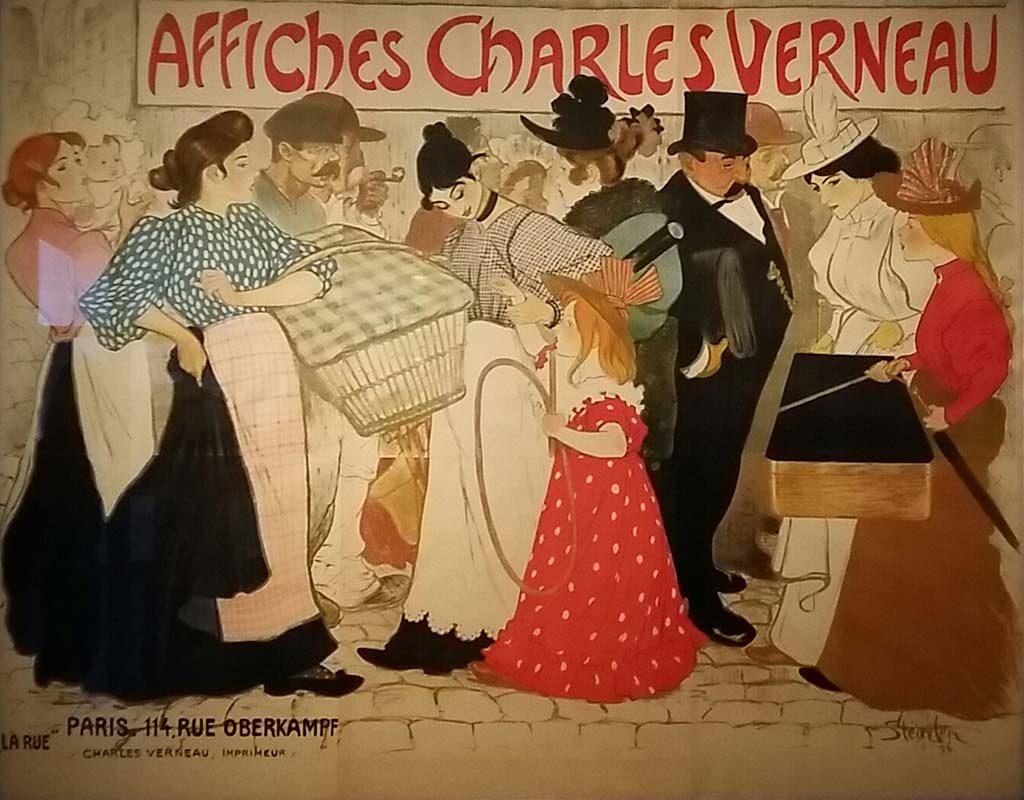Prints in Parijs La-Rue-Affiches-Charles-Verneau-1896-Theophile-A.Steinlen-Van-Gogh-Museum-foto-Wilma-Lankhorst