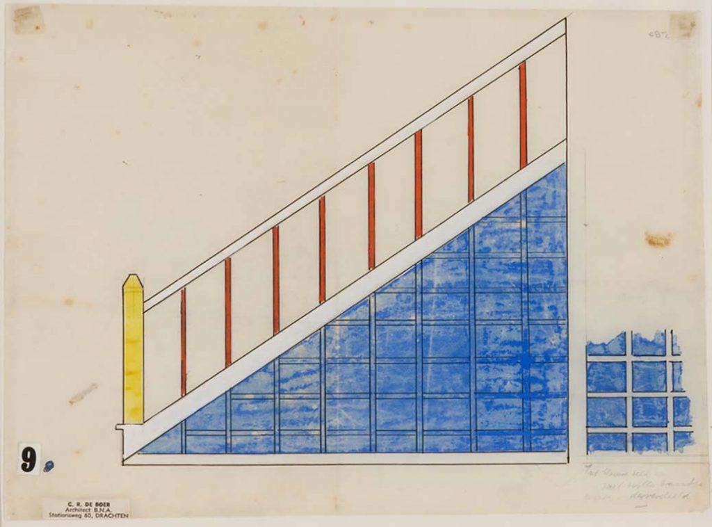 Theo-van-Doesburg-Kleurontwerp-voor-de-trap-in-de-middenstandswoningen-aan-de-Torenstraat-in-Drachten.-bijnaam-de-Papegaaienbuurt.Sept_.-1921