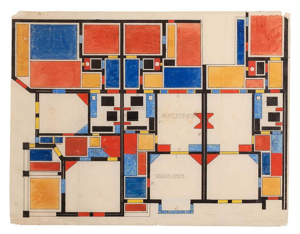 Theo van Doesburg kleurencompositie-II-begane-grond-Papegaaienbuurt-1921.-Museum-Dr8888