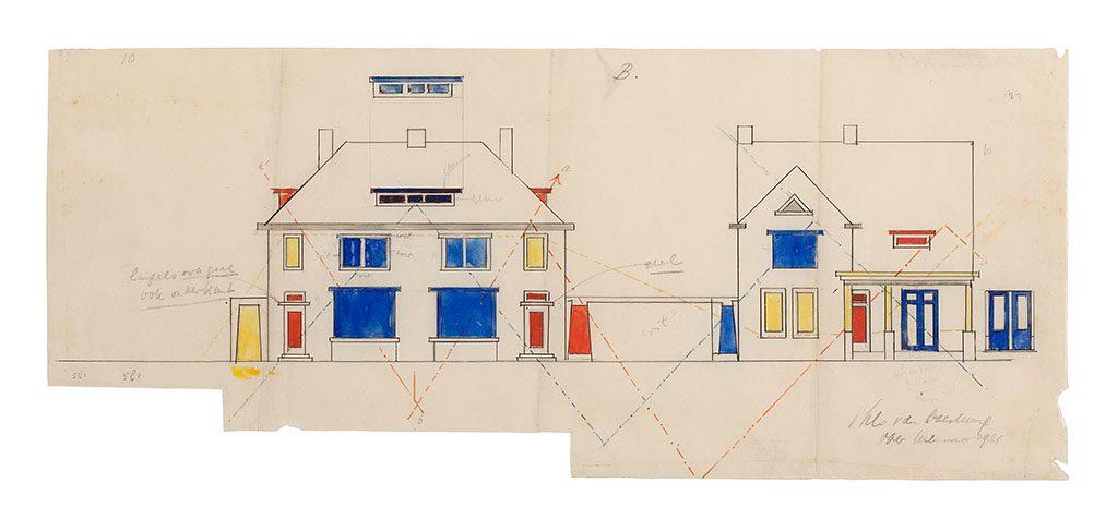 Theo van Doesburg kleurenschema-voorzijde-en-zijaanzicht-huizen-Papegaaienbuurt-1921-1922.-Museum-Drachten
