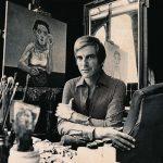 Portret-Herman-Gordijn-in-atelier-met-schilderij-Rimmel-1972