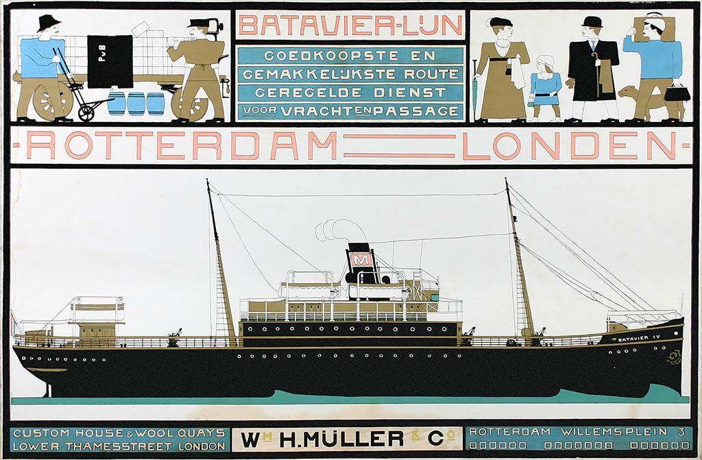 Helene Kröller_Müller Bart-van-der-Leck-Affiche-Batavier-lijn-1916-coll-Kröller-Müller-Museum