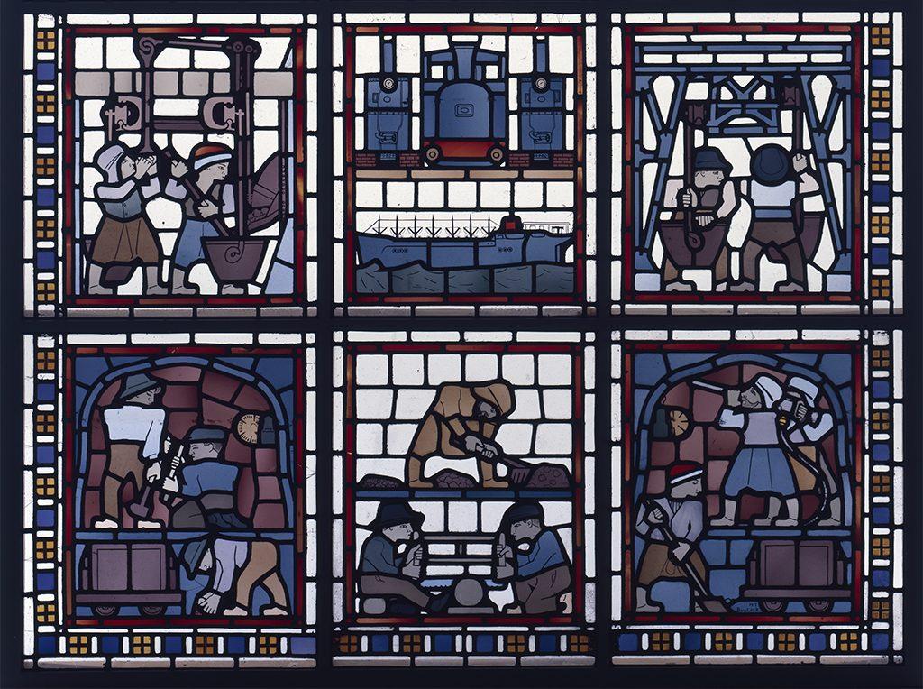 Bart-van-der-Leck-glas-in-loodraam-De-mijnbouw-1915-detail-coll.-Kröller-Müller-Museum