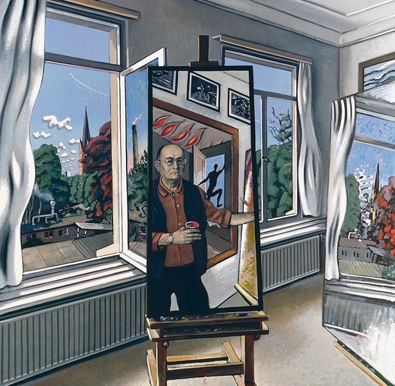Wolfgang-Mattheuer_-'Drinnen_-Draußen-und-Ich-1986-coll-Staatliche-Museen-Berlijn-Nationalgalerie