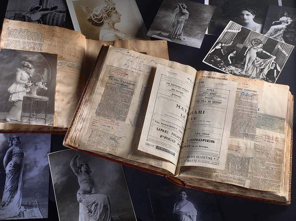 Mata-Hari-Compositie-van-de-plakboeken-van-Mata-Hari-met-reproducties-van-originele-foto-s-uit-de-plakboeken