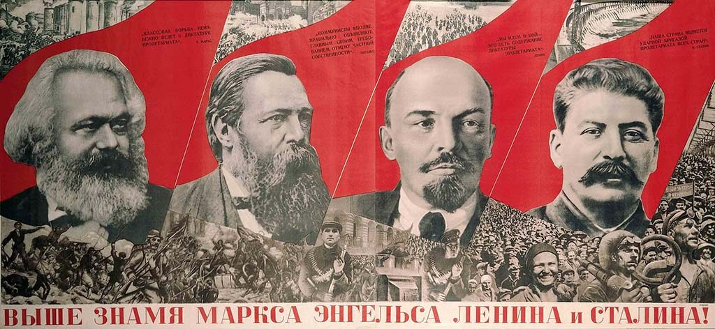 Red Stars Over Russia Gustav-Klutsis-Under-the-Baner-of-Marx-Engels-Lenin-and-Stalin-1933-Red-Stars-over-Russia