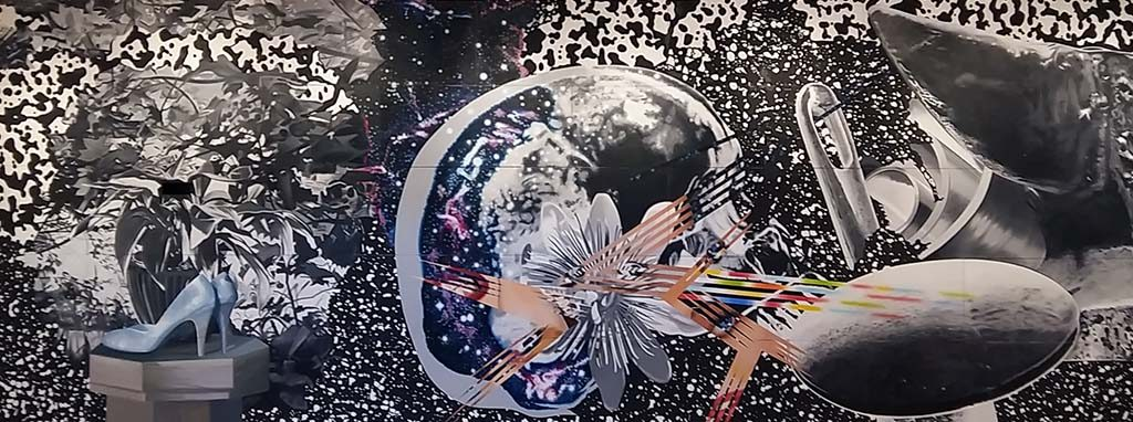 James Rosenquist Duik in het beeld Through-the-Eye-of-the-needle-to-the-Anvil-1988-Museum-Ludwig-foto-Wilma-Lankhorst