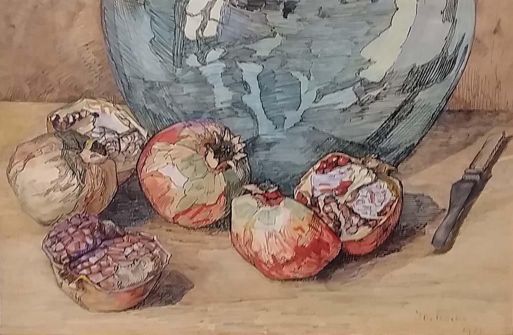 Vrouwelijke-kunstenaars-Jo-Koster-Granaatappels-met-blauwe-kan-1933-uitsnedel-foto-Wilma-Lankhorst