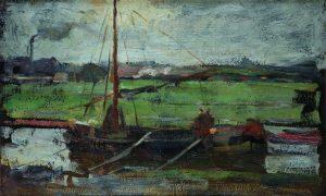 iet-Mondriaan-Polder-met-aangemeerde-boot-bij-Amsterdam-I-1899-1900.-Particuliere-collectie