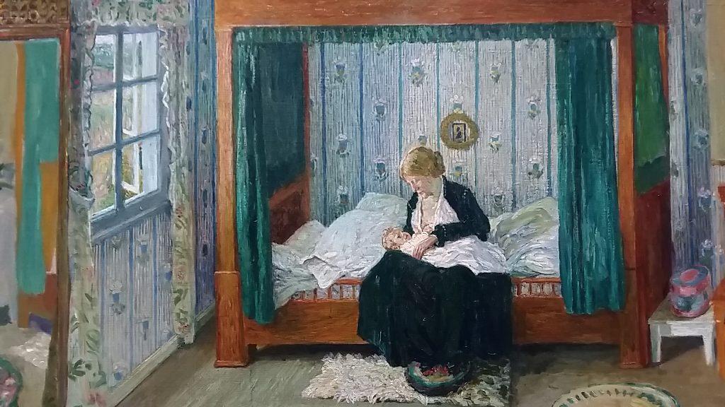 Heinrich Vogeler - Moeder met kind in slaapkamer (1906) detail foto Wilma Lankhorst
