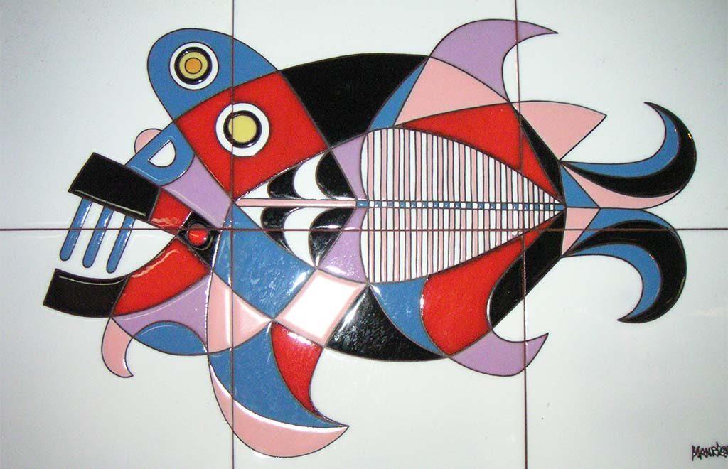 Aida Sol Lanzarote-tegelplateu-met-een-vis-©Cesar-Manrique-foto-Wilma-LAnkhors