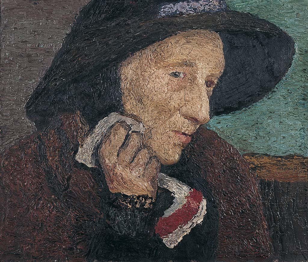 Tussen Worpswede ne Parijs Paula-Modersohn-Becker-Oude-vrouw-met-zwarte-hoed-1905-Von-der-Heydt-Museum-Wuppertal