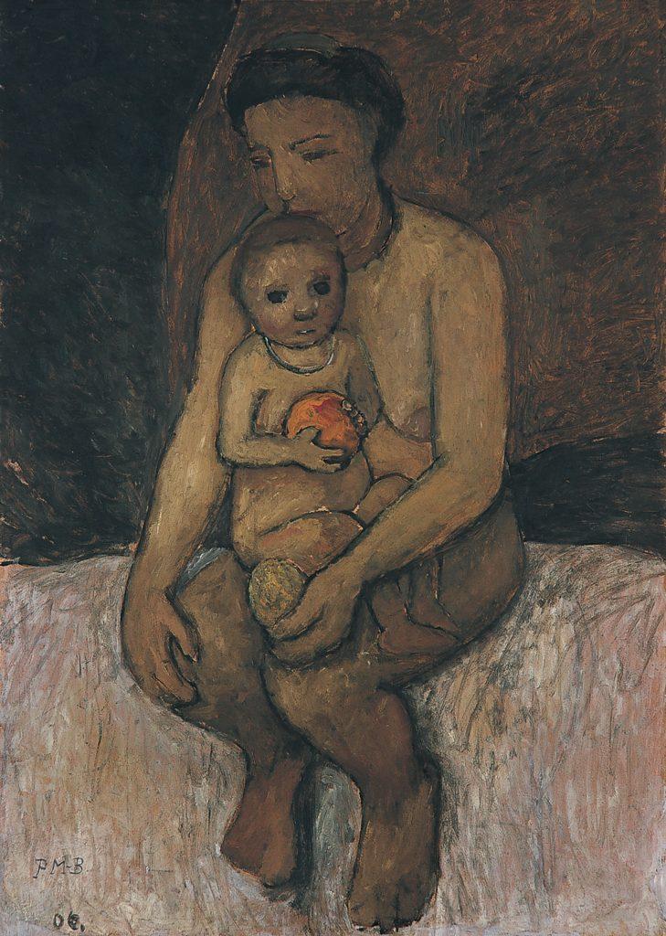 Paula-Modersohn-Becker-Zittende-moeder-met-kind-op-schoot-1906.-Von-der-Heydt-Museum-Wuppertal