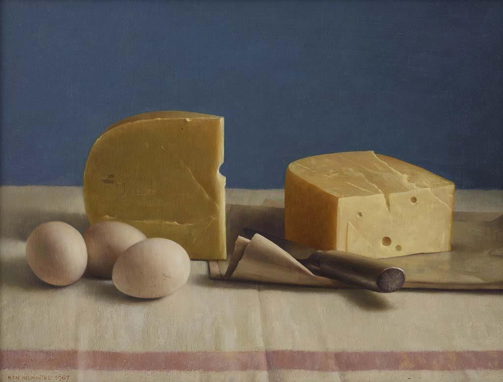 de serene blik Henk-Helmantel-Stilleven-met-kaas-en-eieren-1987-Collectie-Museum-MORE