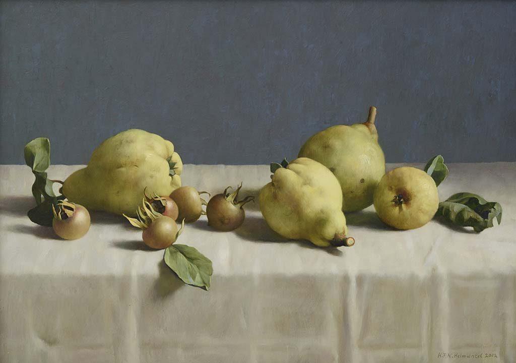 de-serene-blik-Henk-Helmantel-Stilleven-met-kweeperen-2012-Collectie-Museum-MOR