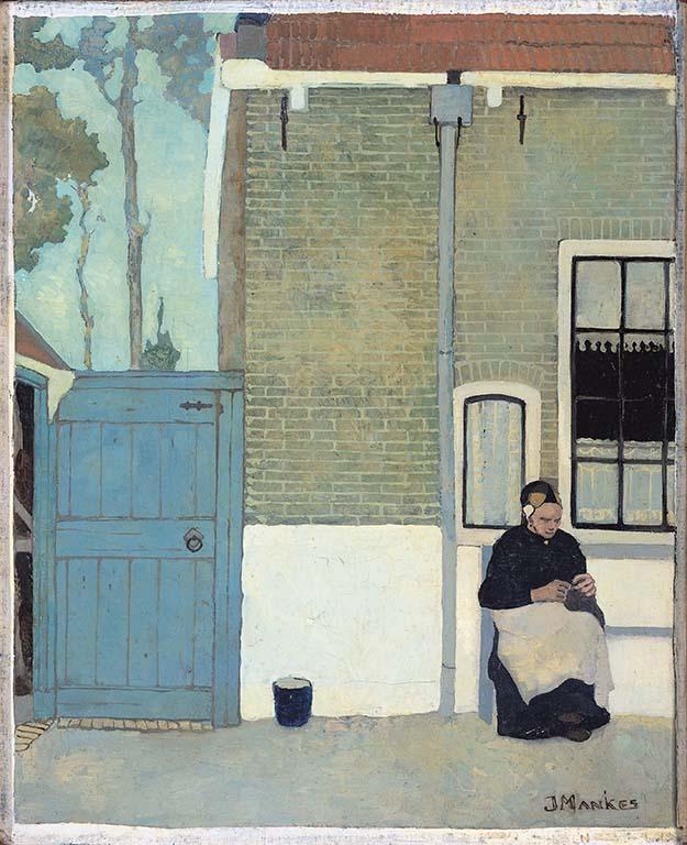 vier-realisten-Jan-Mankes-Vrouw-voor-haar-huis-1914-Coll.-Rijksmuseum-Amsterdam