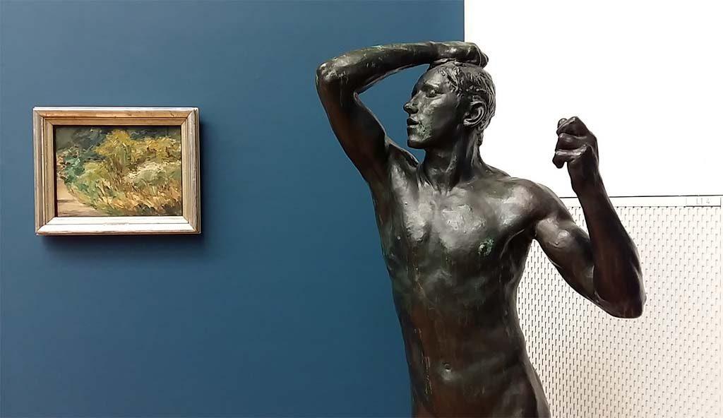 Max Liebermann in-Den-Haag-zaal-met-afb-zijn-tuin-in-Wannsee-beeld-Rodin-foto-Wilma-Lankhorst