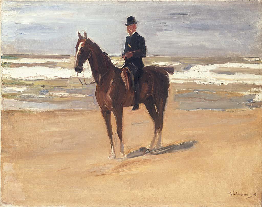 Max Liebermann Ruiter-op-het-strand-1908-coll-Museumslandschaft-Hessen-Kassel.