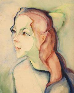 Alida-Pott_Meisje_met_rood_lang_haar_en_groene_strik_door_Alida_Pott_1888-1931