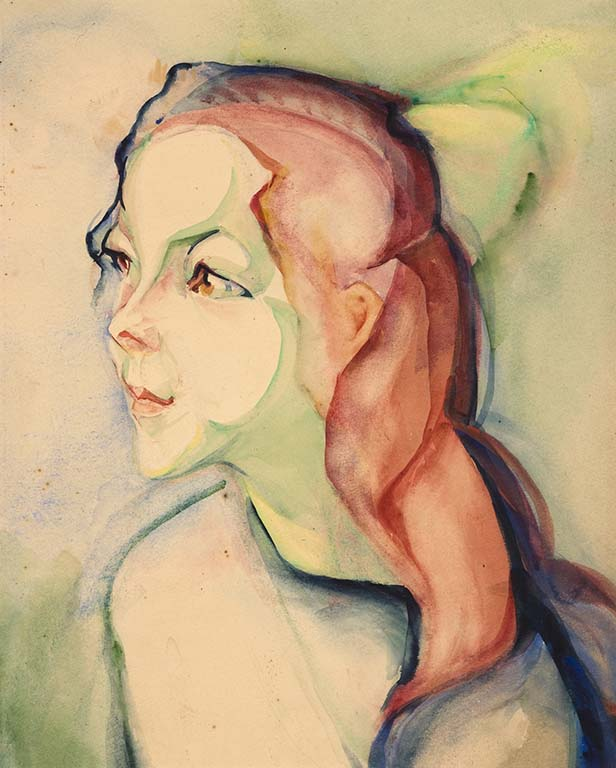 Alida_Pott_meisje-met-lang-rood-haar-en-groene-strik-Alida-Pott