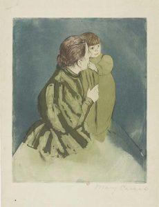 Mary_Cassatt_Moeder-en-kind-groene-jurk_-droge-naald-1894-coll-Jacques-Doucet-Paris