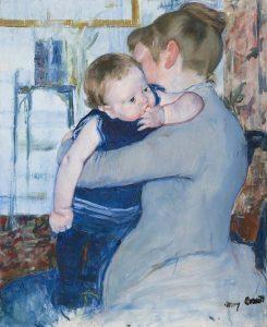 Mary_Cassatt_serie-moeder-en-kind-baby-in-bauw-pakje-1883-85-Coll-Cincinnati-Art-Museum