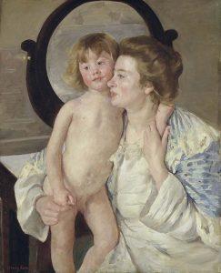 Mary_Cassatt_kind-met-ovale-spiegel_marys-versie-van-de-madonna-met-kind-1899-coll.-Metropolitan-Museum-NYC